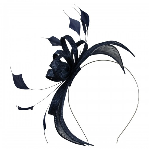 Failsworth Millinery Sinamay Fascinator in Deep Navy