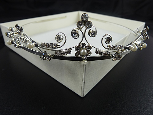 Diamante Pearl Flower Tiara
