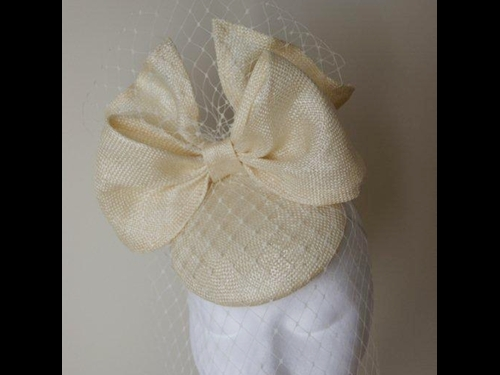 Esther Louise Millinery Ivory veiled bow headpiece