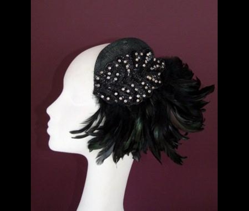 Edel Staunton Millinery Black Flapper Headpiece