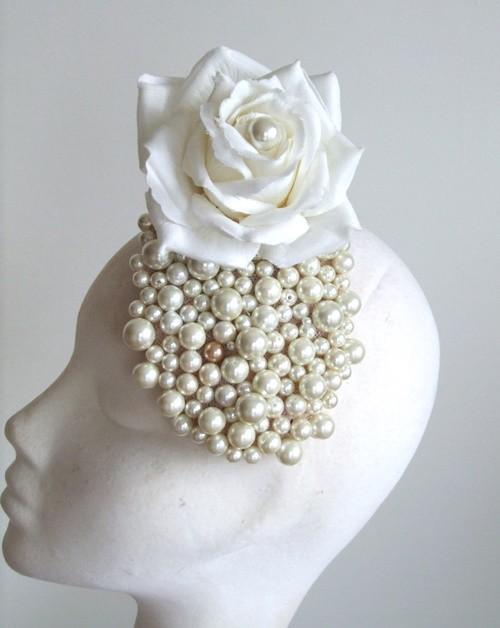 Edel Staunton Millinery White Rose Headpiece