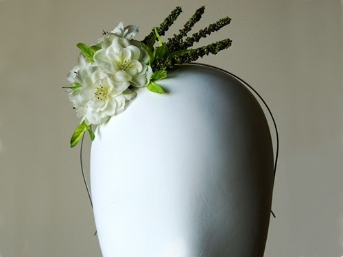 Elouise Collection Small White and Lime Silk Floral Headpiece