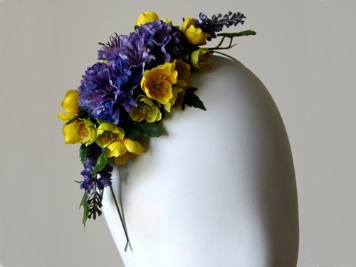 Elouise Collection Spring Purple and Yellow Silk Floral Headband