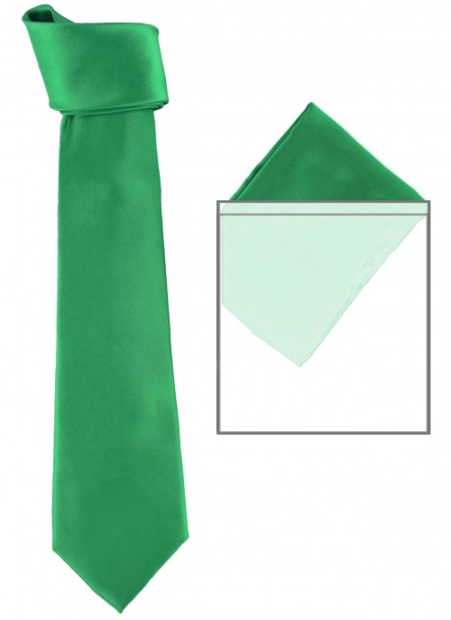 Max and Ellie Mens Tie and Pocket Square Set in Emerald