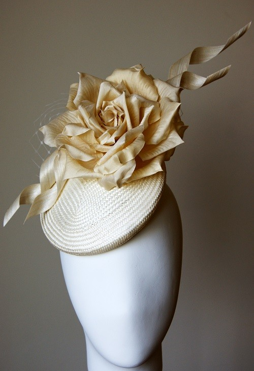 Esther Louise Millinery Cream Silk Rose and Twist Smartie Hat