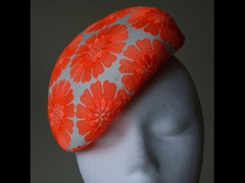 Esther Louise Millinery Orange Embroidered Beret