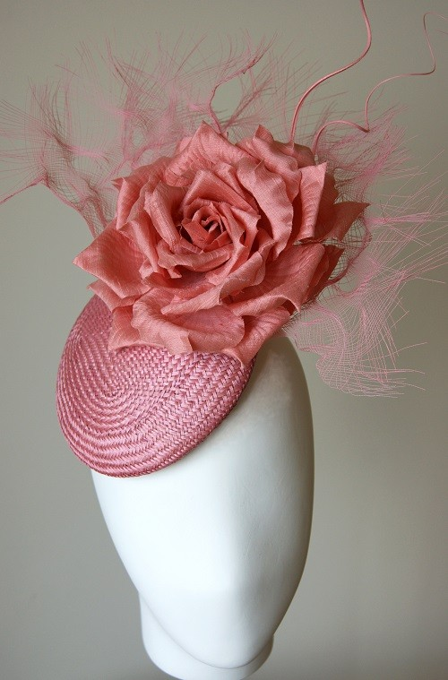 Esther Louise Millinery Pink Silk Rose and Crin Smartie Hat
