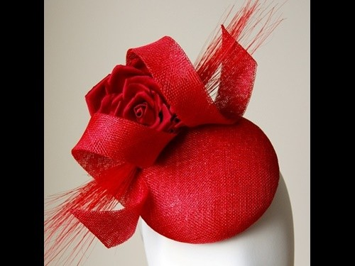 Esther Louise Millinery Poppy Red Sinamay Button Hat