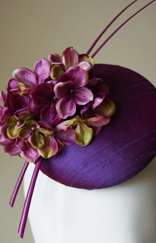 Esther Louise Millinery Purple silk hydrangea hat