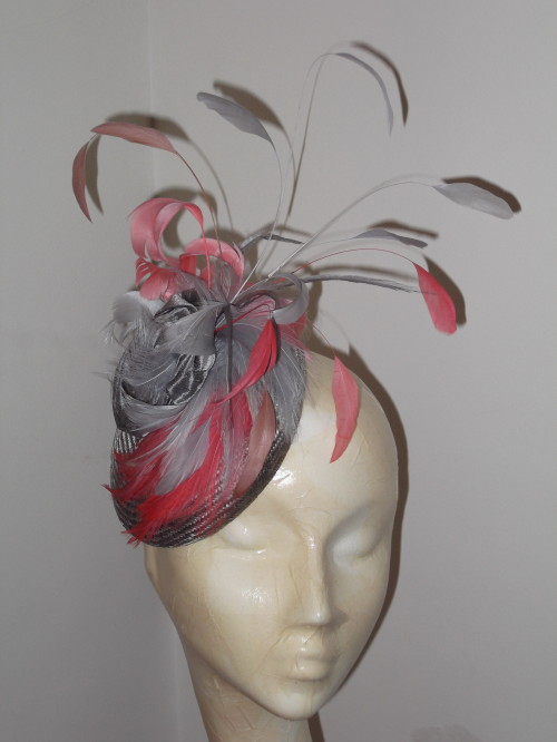 Wedding Hats 4U - Designer Millinery by Rachel Wykes Events fascinator  Silver Silk Coral in Silver e63deab16e7