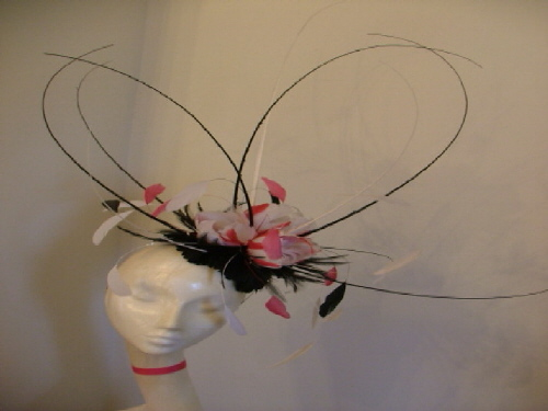 Designer Millinery by Rachel Wykes Events fascinator Black Multi