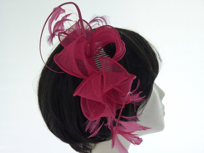 Events fascinator Pink with Quills