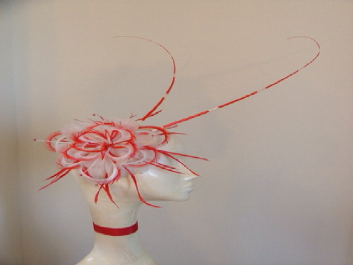 Designer Millinery by Rachel Wykes Wedding fascinator / Events Red Cream
