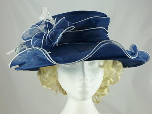47ecc2cf698 Wedding Hats 4U - Failsworth Millinery Organza Wedding Hat in Navy   White