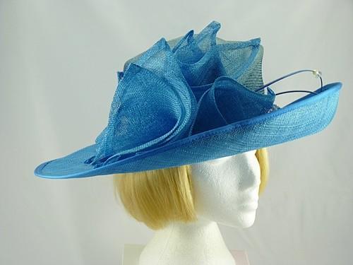 Failsworth Millinery Blue Wide Brimmed Wedding Hat