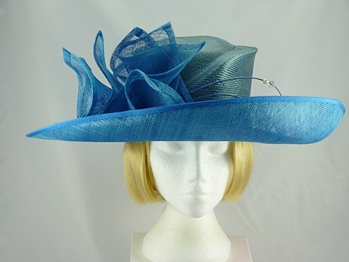 Failsworth Millinery Blue Wide Brimmed Wedding Hat