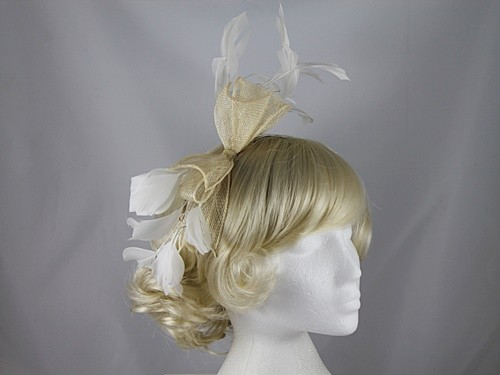 Failsworth Millinery Ivory Sinamay Fascinator