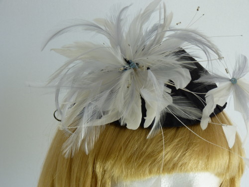 Fascinator and bag Ivory Black