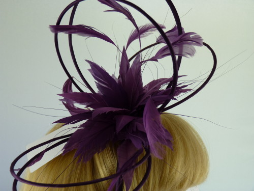 Fascinators 4 Weddings - Charlotta Fascinator in Grape 501b6ddc6e6