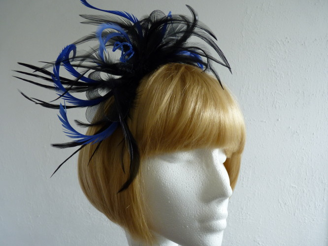 Fascinators 4 Weddings - Fascinator Black   Royal Blue d613f04861f