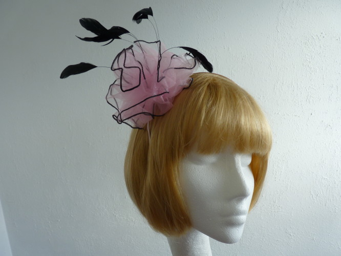 Fascinator Pale Pink and Black