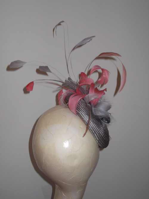 Designer Millinery by Rachel Wykes Wedding headpiece Grey and Coral