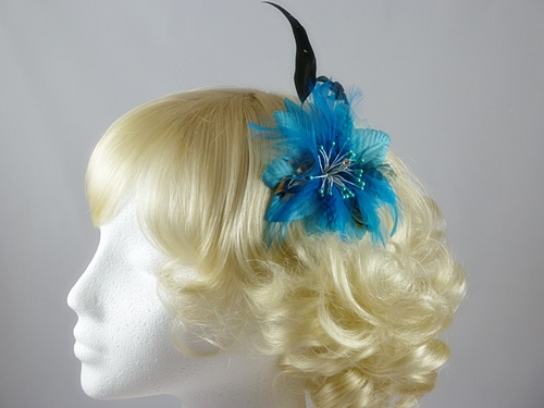 Fascinators 4 Weddings - Feather Flower Fascinator in Turquoise (9080) 1cbd9a8e644
