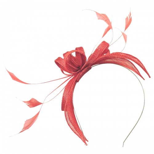 Failsworth Millinery Sinamay Fascinator in Flamingo