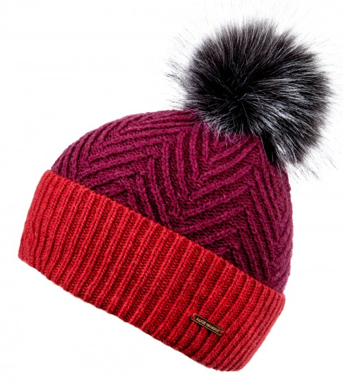 Alice Hannah Alesha Chevron Multi Colour Bobble Hat in Fuchsia