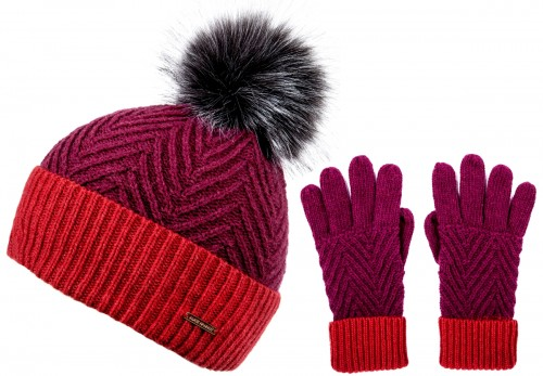54cbc1f0cf2 Alice Hannah Alesha Multicolour Bobble Hat with Matching Gloves