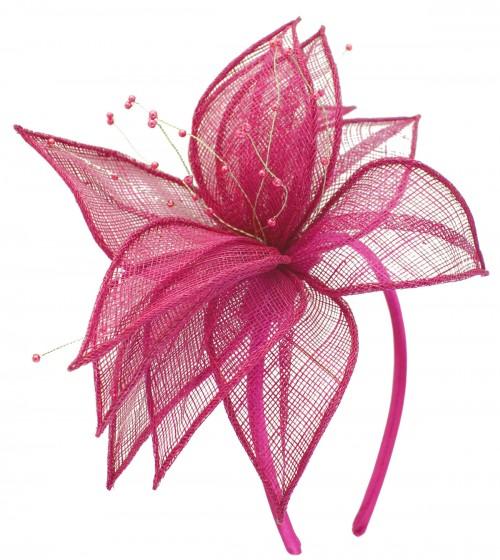 Elegance Collection Sinamay Leaf Fascinator in Fuchsia