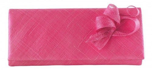 Elegance Collection Sinamay Occasion Bag in Fuchsia