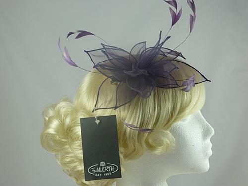 Wedding Hats 4U - Failsworth Millinery Organza Fascinator in Grape ... 8986022819b