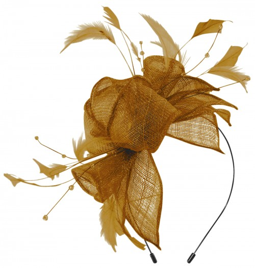 Max and Ellie Diamante Fascinator in Gold