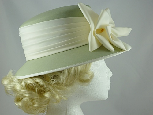 Sage Green and Cream Hat