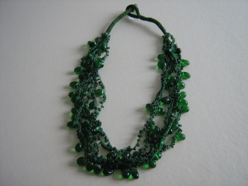 Wedding necklace Green  bead strands