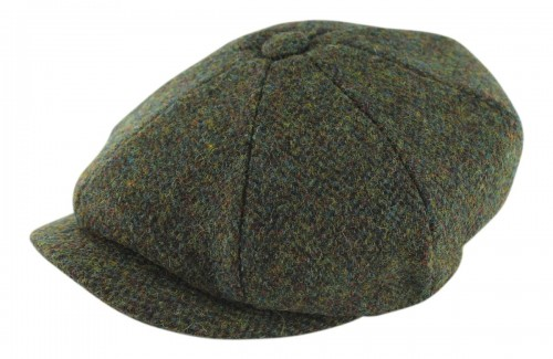 Failsworth Millinery Carloway Flat Cap in Green/Brown