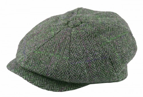 Failsworth Millinery Carloway Flat Cap in Grey Blue