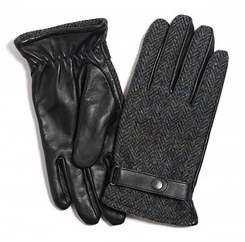 Failsworth Millinery Harris Tweed Gloves in Grey Blue