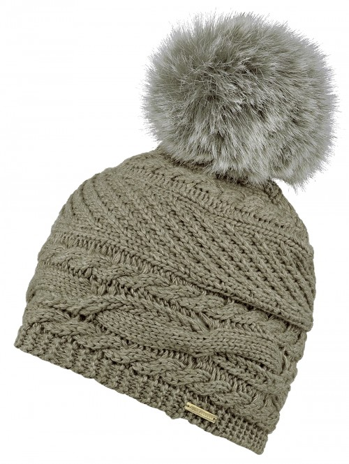 Alice Hannah Alexa Ribbed Knitted Beanie in Grey