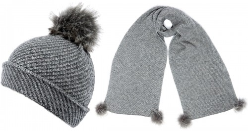 Alice Hannah Alina Diagonal Ribbed Beanie with Matching Scarf in Grey