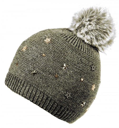 Alice Hannah Allie Sparkly Stars Bobble Hat in Grey