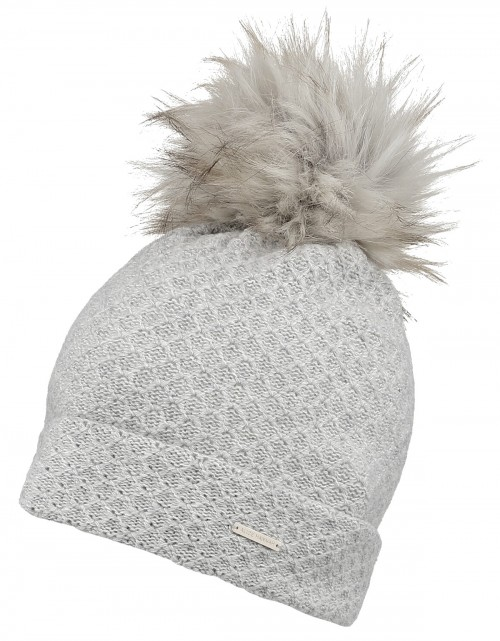 Alice Hannah Knitted Bobble Ski Hat in Grey