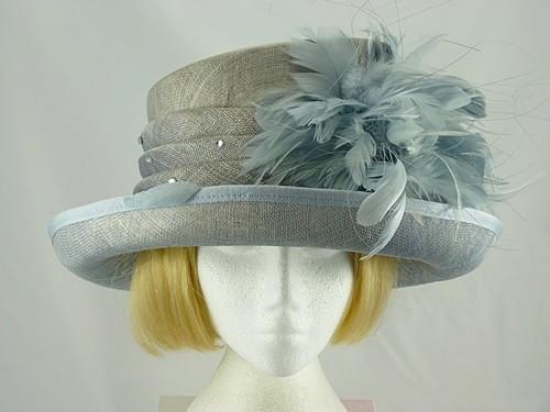 Grey Blue Wedding hat