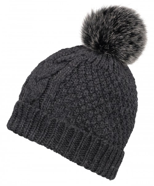 Boardman Cable Knit Bobble Hat in Grey