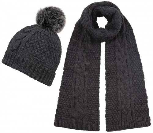 Boardman Cable Knit Bobble Hat with Matching Scarf
