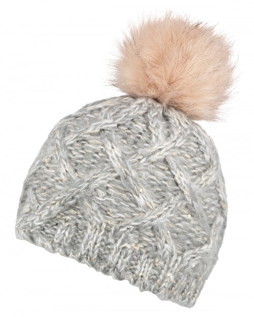 Boardman Sparkle Bobble Ski Hat in Grey