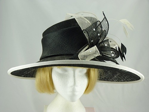 Gwyther Snoxells Black and White Wedding hat