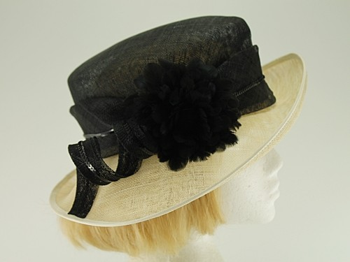 Hat Box Black and Cream Wedding Hat