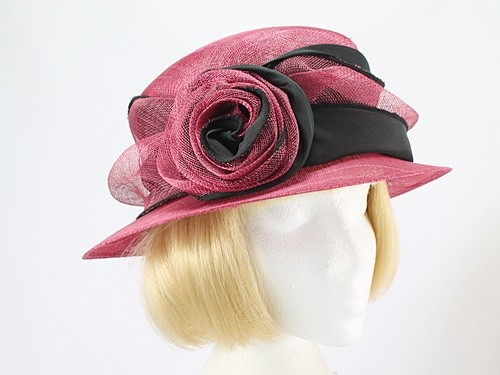 Hat Box Raspberry and Black Formal Hat